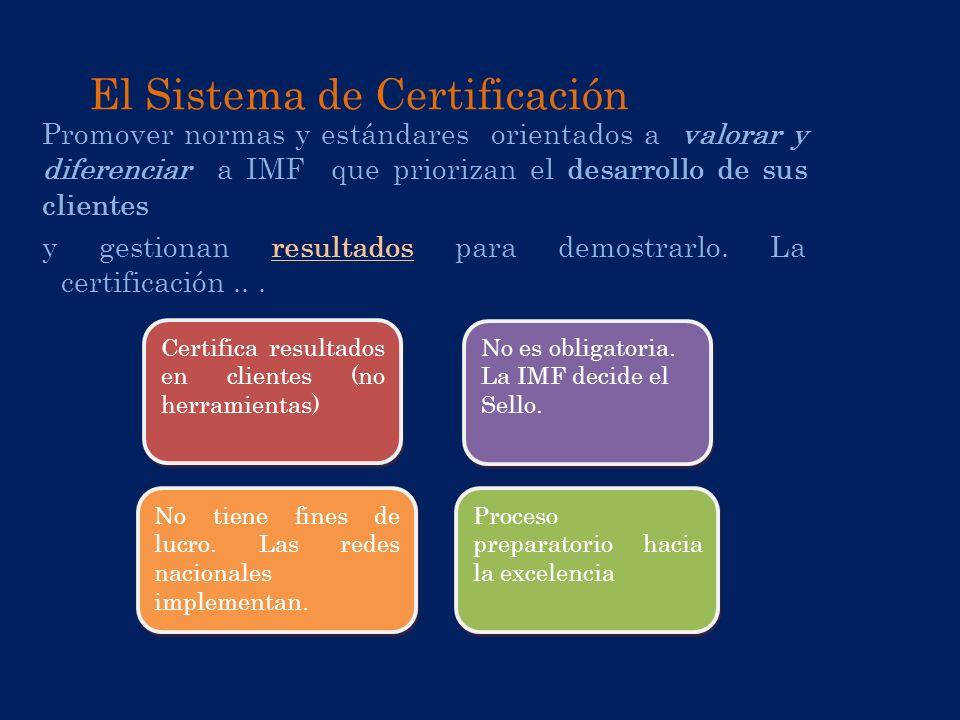 El Sistema de Certificación Promover normas y estándares orientados a valorar y diferenciar a IMF que priorizan el desarrollo de sus clientes y gestio
