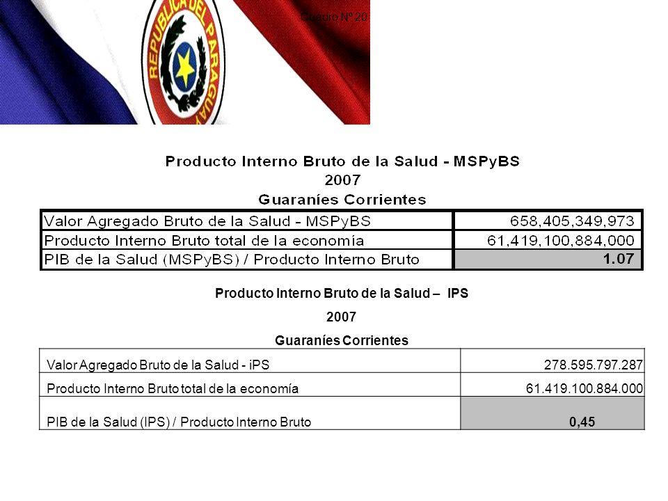 Cuadro Nº 20 Producto Interno Bruto de la Salud – IPS 2007 Guaraníes Corrientes Valor Agregado Bruto de la Salud - iPS 278.595.797.287 Producto Interno Bruto total de la economía 61.419.100.884.000 PIB de la Salud (IPS) / Producto Interno Bruto 0,45