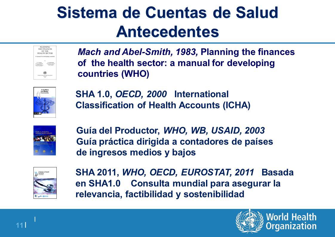   11   Sistema de Cuentas de Salud Antecedentes SHA 1.0, OECD, 2000 International Classification of Health Accounts (ICHA) Guía del Productor, WHO, WB