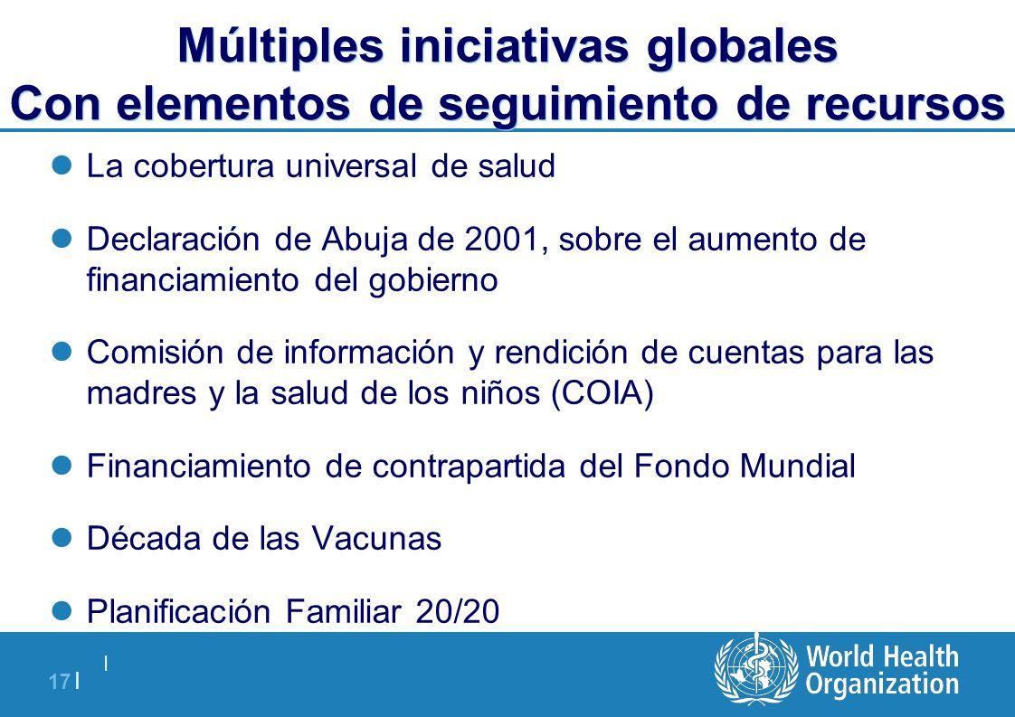   17   Múltiples iniciativas globales Con elementos de seguimiento de recursos La cobertura universal de salud Declaración de Abuja de 2001, sobre el