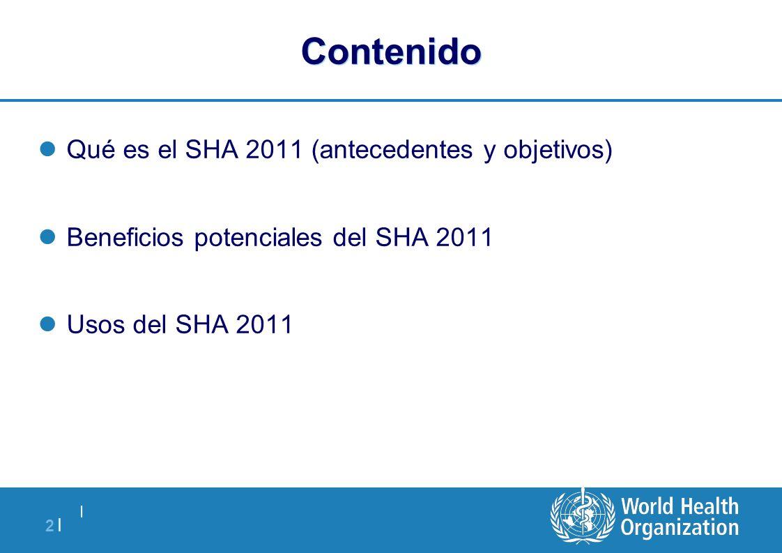   2  2   Contenido Qué es el SHA 2011 (antecedentes y objetivos) Beneficios potenciales del SHA 2011 Usos del SHA 2011