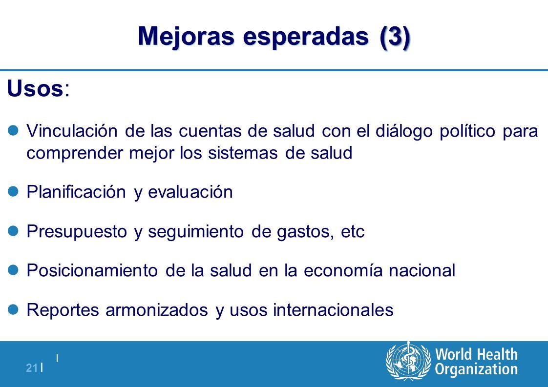   21   (3) Mejoras esperadas (3) Usos: Vinculación de las cuentas de salud con el diálogo político para comprender mejor los sistemas de salud Planifi