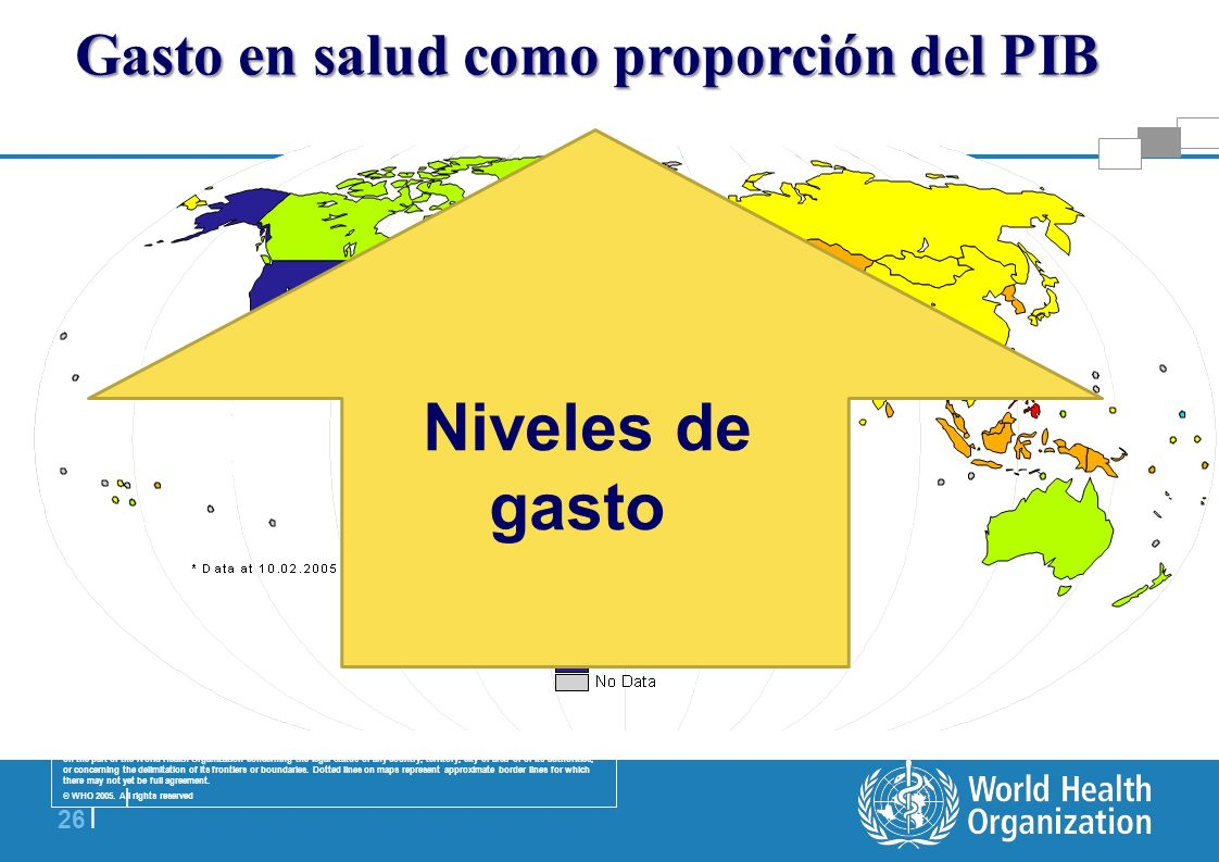   26   Gasto en salud como proporción del PIB The boundaries and names shown and the designations used on this map do not imply the expression of any
