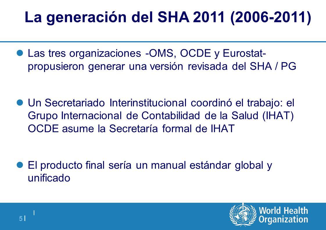   5  5   La generación del SHA 2011 (2006-2011) Las tres organizaciones -OMS, OCDE y Eurostat- propusieron generar una versión revisada del SHA / PG U