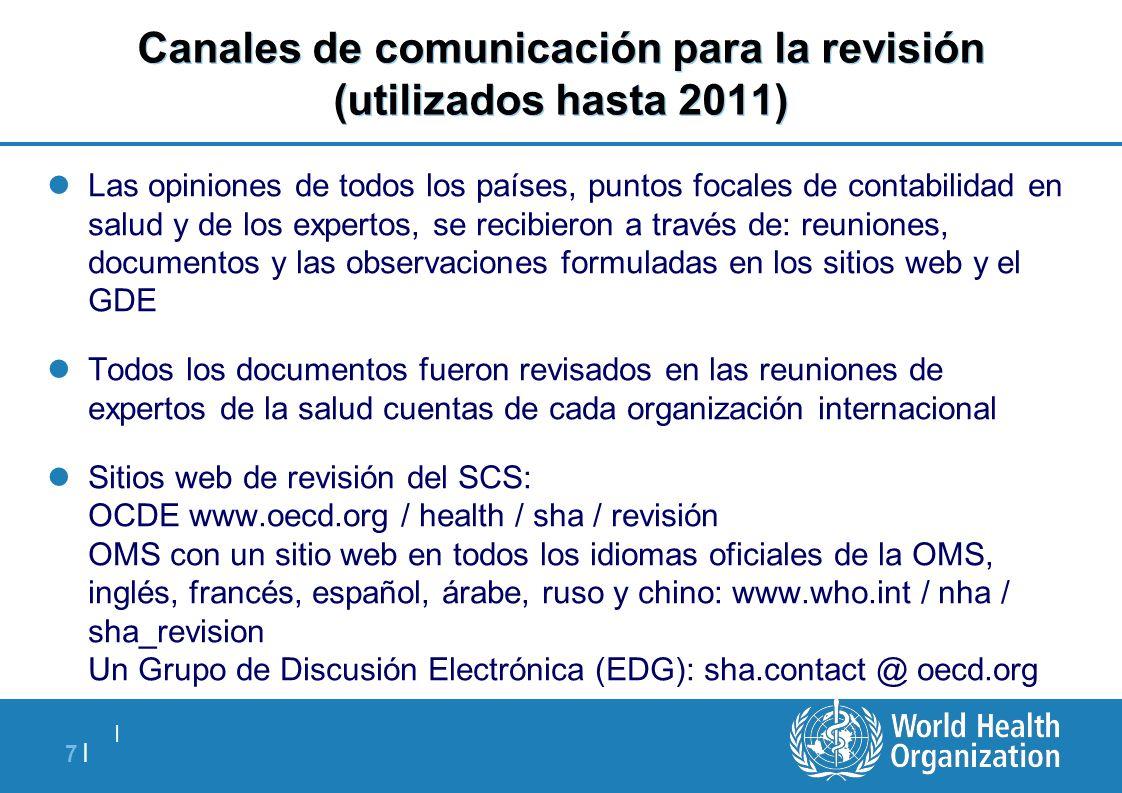   7  7   Canales de comunicación para la revisión (utilizados hasta 2011) Las opiniones de todos los países, puntos focales de contabilidad en salud y