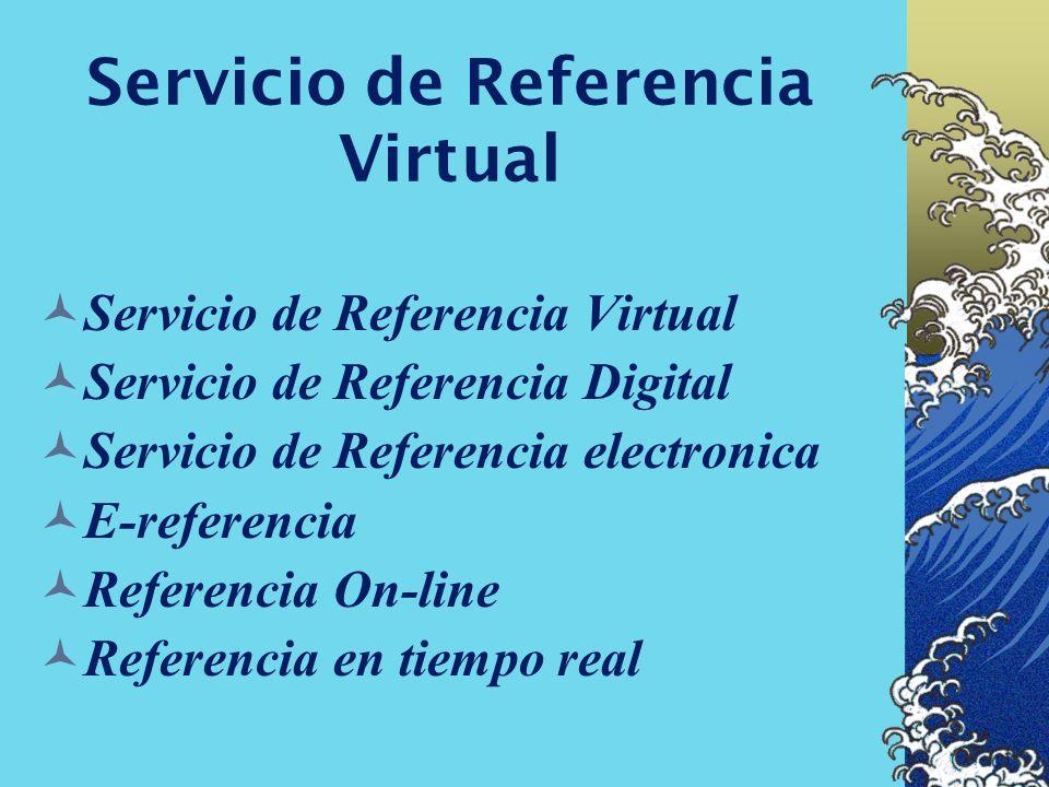 Servicio de Referencia Virtual Los Bibliotecarios Los usuarios Los recursos La tecnología que soporta la transacciòn Las relaciones entre todos los el