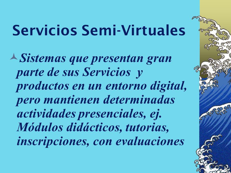 Servicios Virtuales Ofertas que integran todos sus servicios y productos en un ambiente digital, accesible en línea