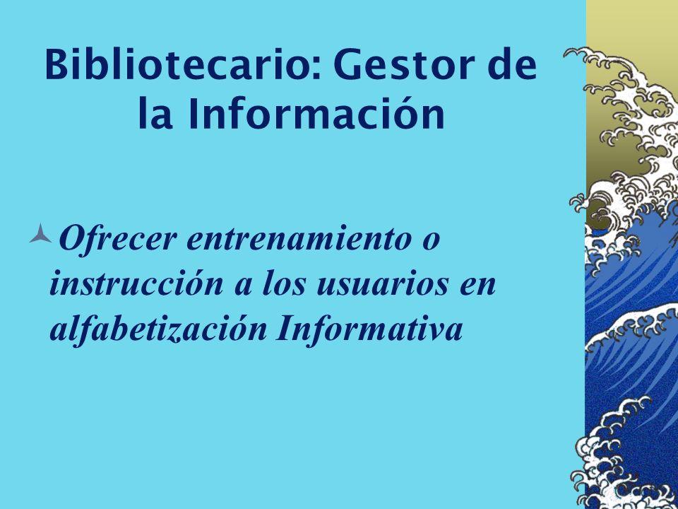 Bibliotecario: Gestor de la Información Amplio conocimiento de la arquitectura para operar los sistemas de información...