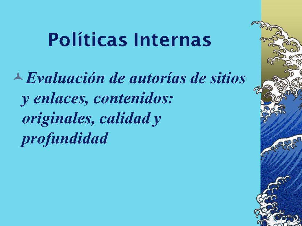 Políticas Internas Definir alcance temático, alcance institucional, ambito geográfico, idioma de los sitios enlaces