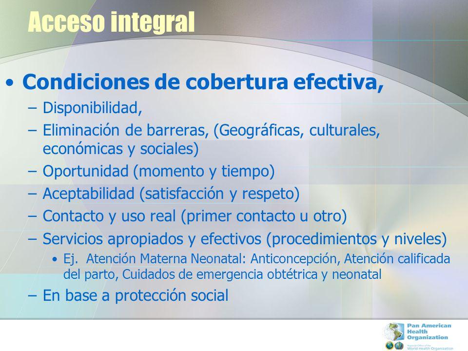Acceso integral Condiciones de cobertura efectiva, –Disponibilidad, –Eliminación de barreras, (Geográficas, culturales, económicas y sociales) –Oportu