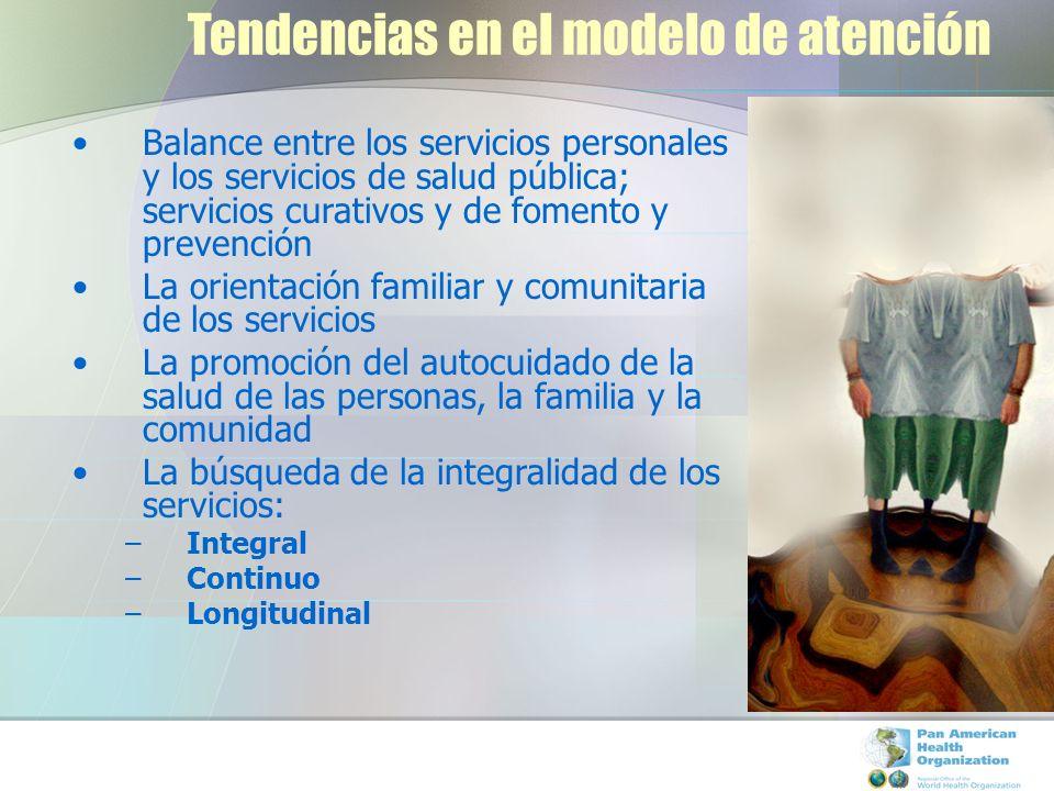 Tendencias en el modelo de atención Balance entre los servicios personales y los servicios de salud pública; servicios curativos y de fomento y preven