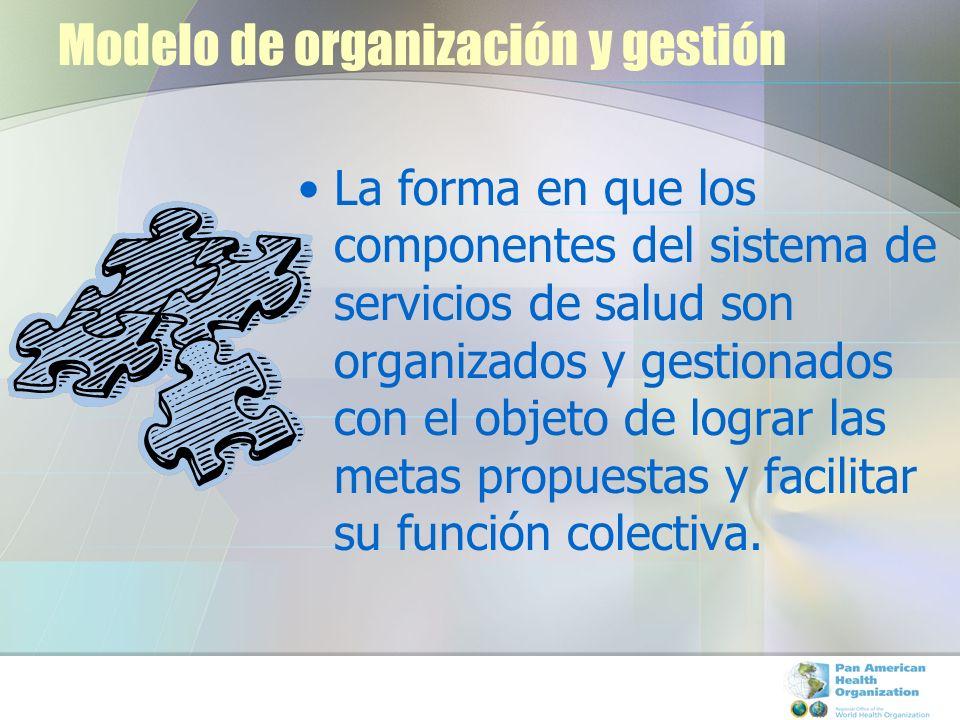 Modelo de organización y gestión La forma en que los componentes del sistema de servicios de salud son organizados y gestionados con el objeto de logr