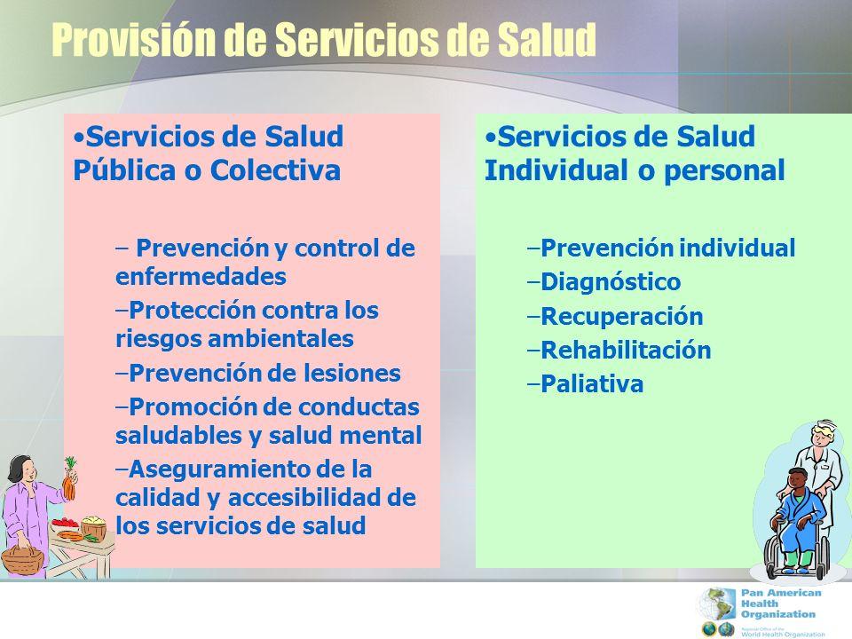 Provisión de Servicios de Salud Servicios de Salud Pública o Colectiva – Prevención y control de enfermedades –Protección contra los riesgos ambiental
