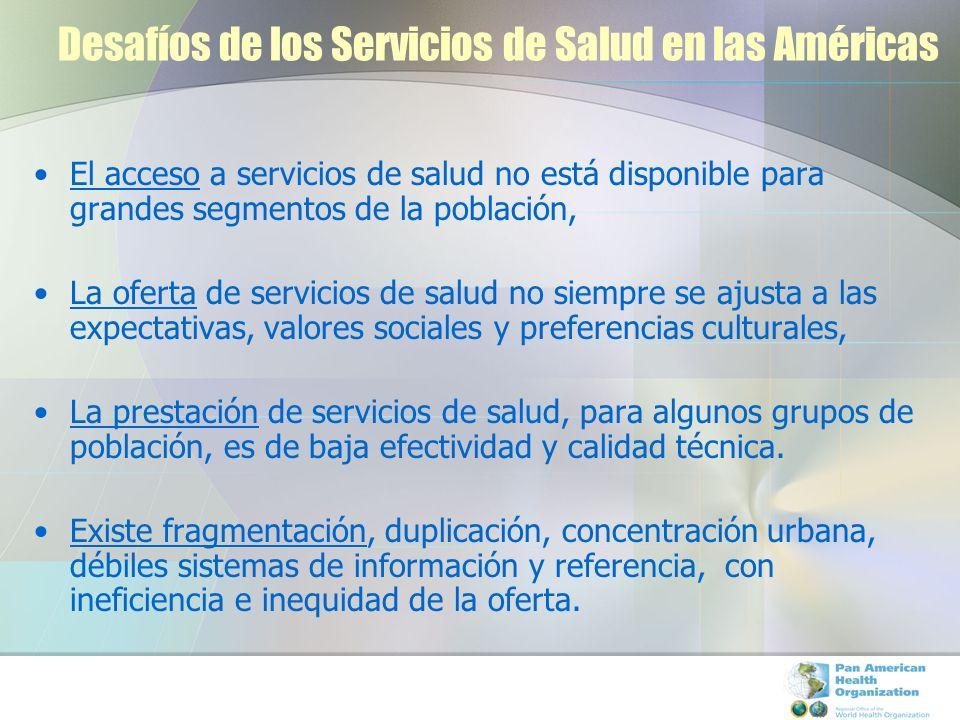Desafíos de los Servicios de Salud en las Américas El acceso a servicios de salud no está disponible para grandes segmentos de la población, La oferta