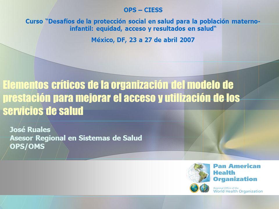 Elementos críticos de la organización del modelo de prestación para mejorar el acceso y utilización de los servicios de salud José Ruales Asesor Regio