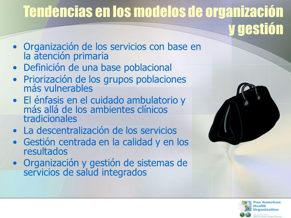 Tendencias en los modelos de organización y gestión Organización de los servicios con base en la atención primaria Definición de una base poblacional Priorización de los grupos poblaciones más vulnerables El énfasis en el cuidado ambulatorio y más allá de los ambientes clínicos tradicionales La descentralización de los servicios Gestión centrada en la calidad y en los resultados Organización y gestión de sistemas de servicios de salud integrados