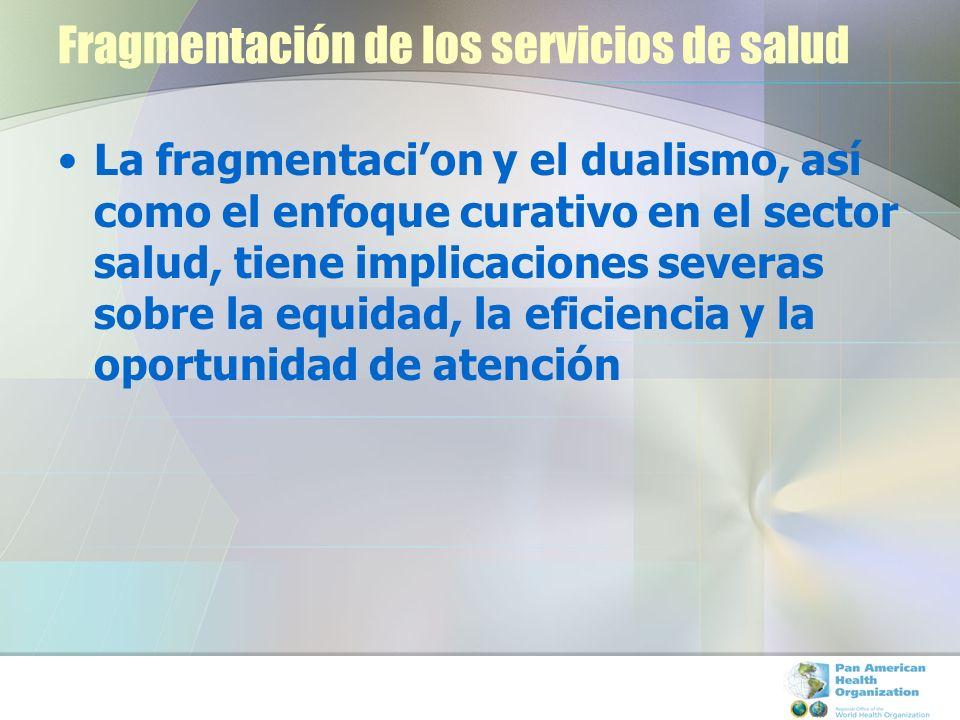 Fragmentación de los servicios de salud La fragmentacion y el dualismo, así como el enfoque curativo en el sector salud, tiene implicaciones severas s