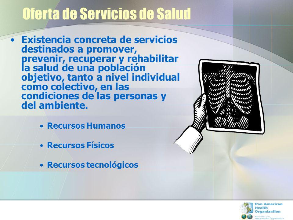 Existencia concreta de servicios destinados a promover, prevenir, recuperar y rehabilitar la salud de una población objetivo, tanto a nivel individual como colectivo, en las condiciones de las personas y del ambiente.