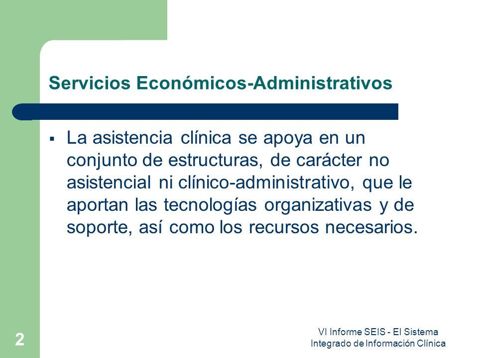 VI Informe SEIS - El Sistema Integrado de Información Clínica 2 Servicios Económicos-Administrativos La asistencia clínica se apoya en un conjunto de