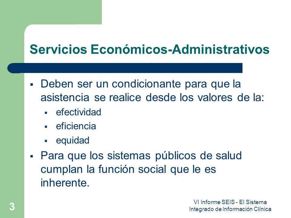VI Informe SEIS - El Sistema Integrado de Información Clínica 3 Servicios Económicos-Administrativos Deben ser un condicionante para que la asistencia se realice desde los valores de la: efectividad eficiencia equidad Para que los sistemas públicos de salud cumplan la función social que le es inherente.