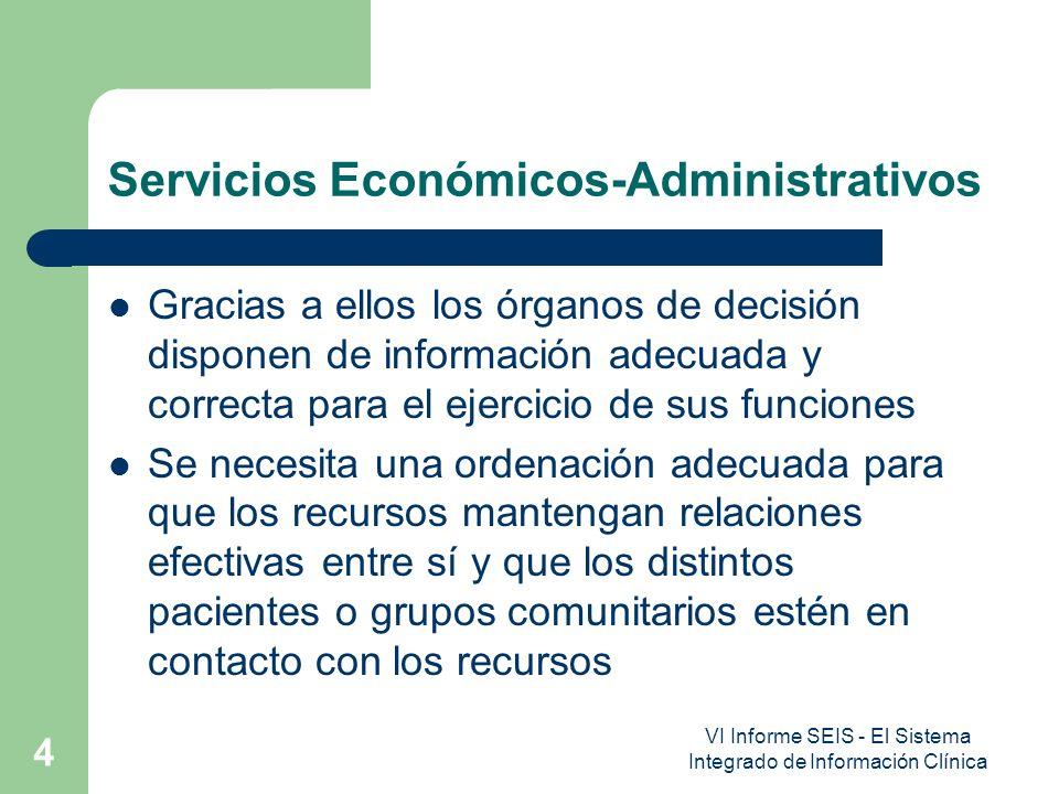 VI Informe SEIS - El Sistema Integrado de Información Clínica 4 Servicios Económicos-Administrativos Gracias a ellos los órganos de decisión disponen