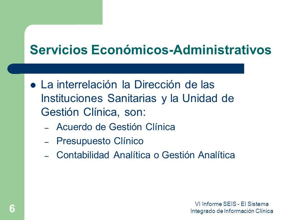 VI Informe SEIS - El Sistema Integrado de Información Clínica 6 Servicios Económicos-Administrativos La interrelación la Dirección de las Institucione