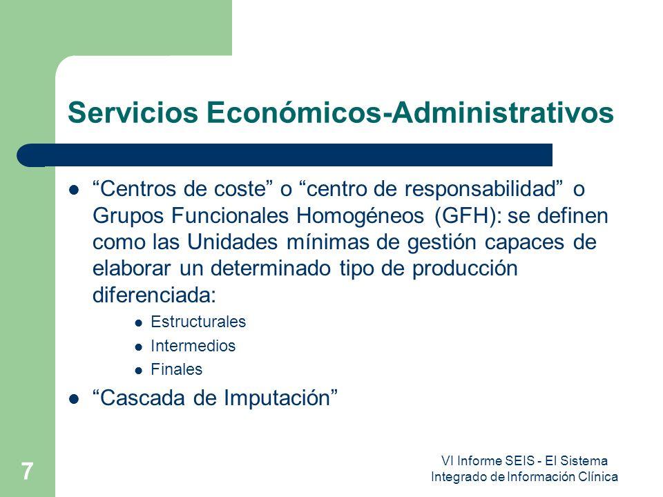 VI Informe SEIS - El Sistema Integrado de Información Clínica 7 Servicios Económicos-Administrativos Centros de coste o centro de responsabilidad o Gr