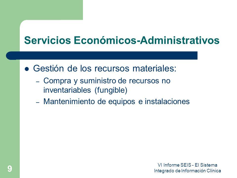 VI Informe SEIS - El Sistema Integrado de Información Clínica 9 Servicios Económicos-Administrativos Gestión de los recursos materiales: – Compra y su
