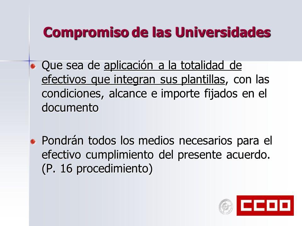 Compromiso de las Universidades Que sea de aplicación a la totalidad de efectivos que integran sus plantillas, con las condiciones, alcance e importe