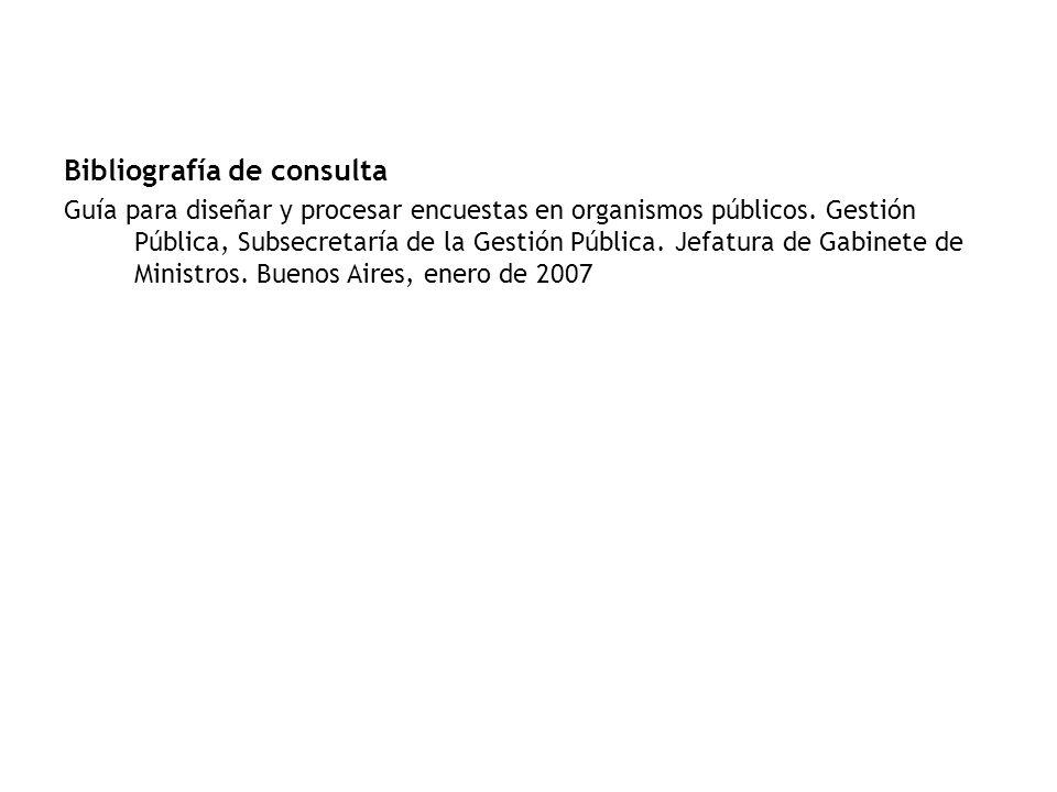 Bibliografía de consulta Guía para diseñar y procesar encuestas en organismos públicos.