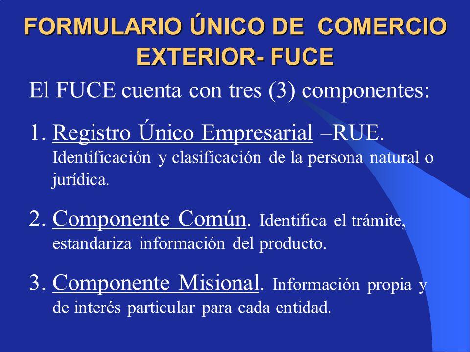 FORMULARIO ÚNICO DE COMERCIO EXTERIOR- FUCE El FUCE cuenta con tres (3) componentes: 1.Registro Único Empresarial –RUE.