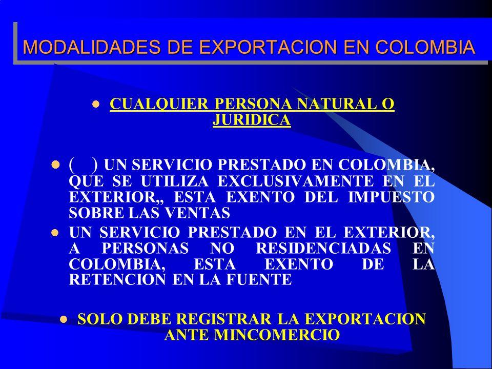 MODALIDADES DE EXPORTACION EN COLOMBIA CUALQUIER PERSONA NATURAL O JURIDICA ( ) UN SERVICIO PRESTADO EN COLOMBIA, QUE SE UTILIZA EXCLUSIVAMENTE EN EL EXTERIOR,, ESTA EXENTO DEL IMPUESTO SOBRE LAS VENTAS UN SERVICIO PRESTADO EN EL EXTERIOR, A PERSONAS NO RESIDENCIADAS EN COLOMBIA, ESTA EXENTO DE LA RETENCION EN LA FUENTE SOLO DEBE REGISTRAR LA EXPORTACION ANTE MINCOMERCIO