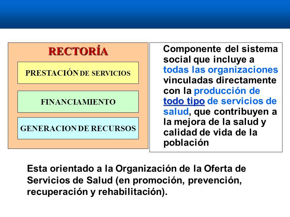todo tipo Componente del sistema social que incluye a todas las organizaciones vinculadas directamente con la producción de todo tipo de servicios de salud, que contribuyen a la mejora de la salud y calidad de vida de la población Esta orientado a la Organización de la Oferta de Servicios de Salud (en promoción, prevención, recuperación y rehabilitación).