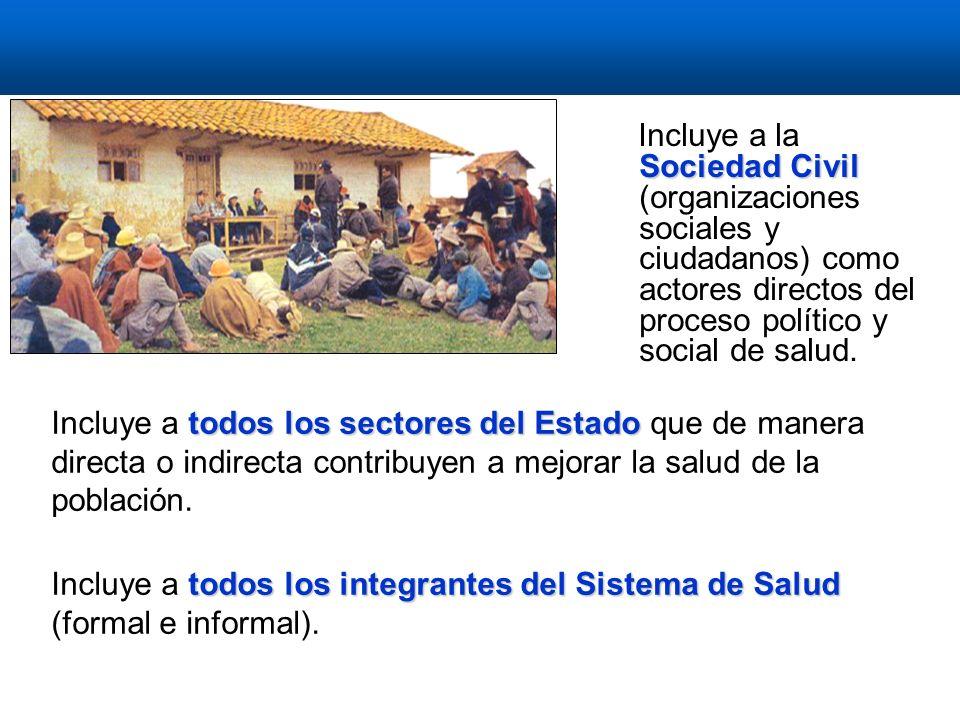 Sociedad Civil Incluye a la Sociedad Civil (organizaciones sociales y ciudadanos) como actores directos del proceso político y social de salud.