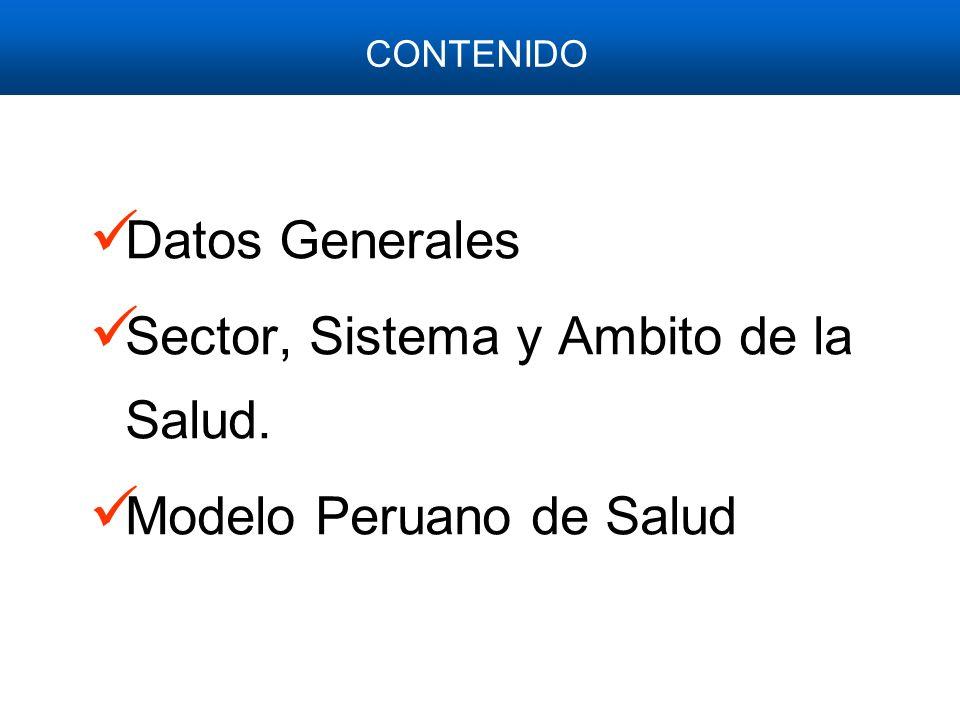 Datos Generales Sector, Sistema y Ambito de la Salud. Modelo Peruano de Salud CONTENIDO