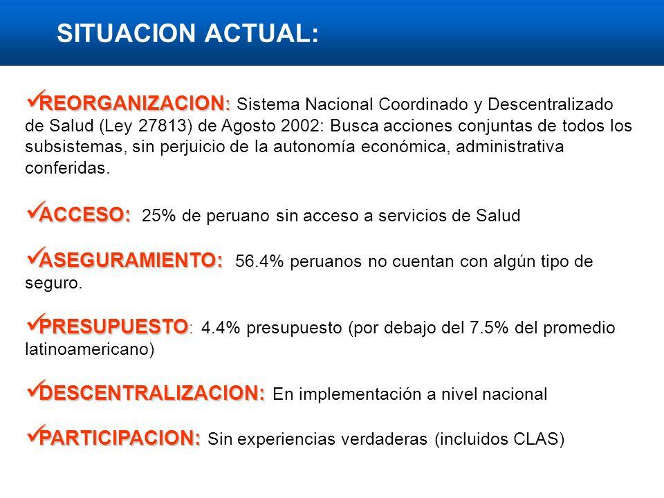 REORGANIZACION : REORGANIZACION : Sistema Nacional Coordinado y Descentralizado de Salud (Ley 27813) de Agosto 2002: Busca acciones conjuntas de todos los subsistemas, sin perjuicio de la autonomía económica, administrativa conferidas.