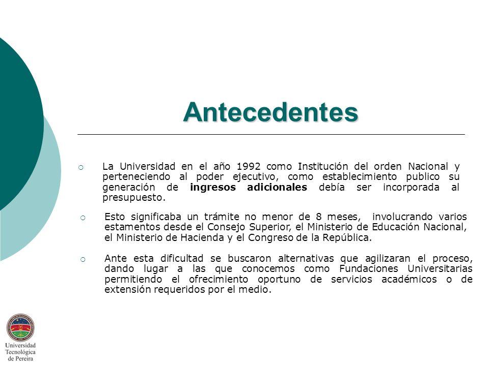 Antecedentes La Universidad en el año 1992 como Institución del orden Nacional y perteneciendo al poder ejecutivo, como establecimiento publico su generación de ingresos adicionales debía ser incorporada al presupuesto.