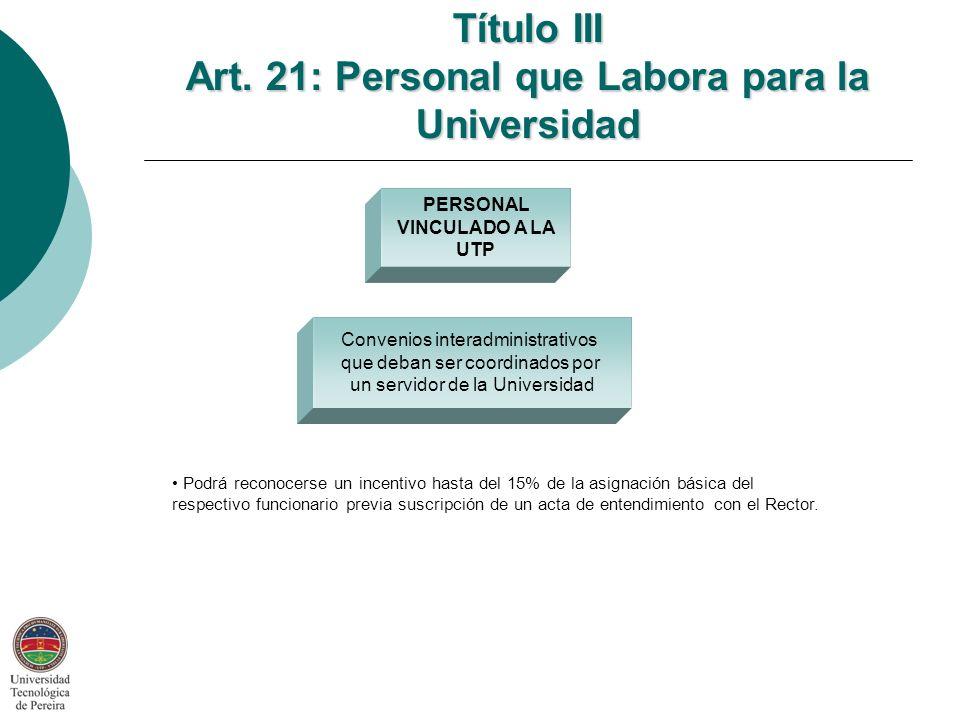 Convenios interadministrativos que deban ser coordinados por un servidor de la Universidad PERSONAL VINCULADO A LA UTP Título III Art.