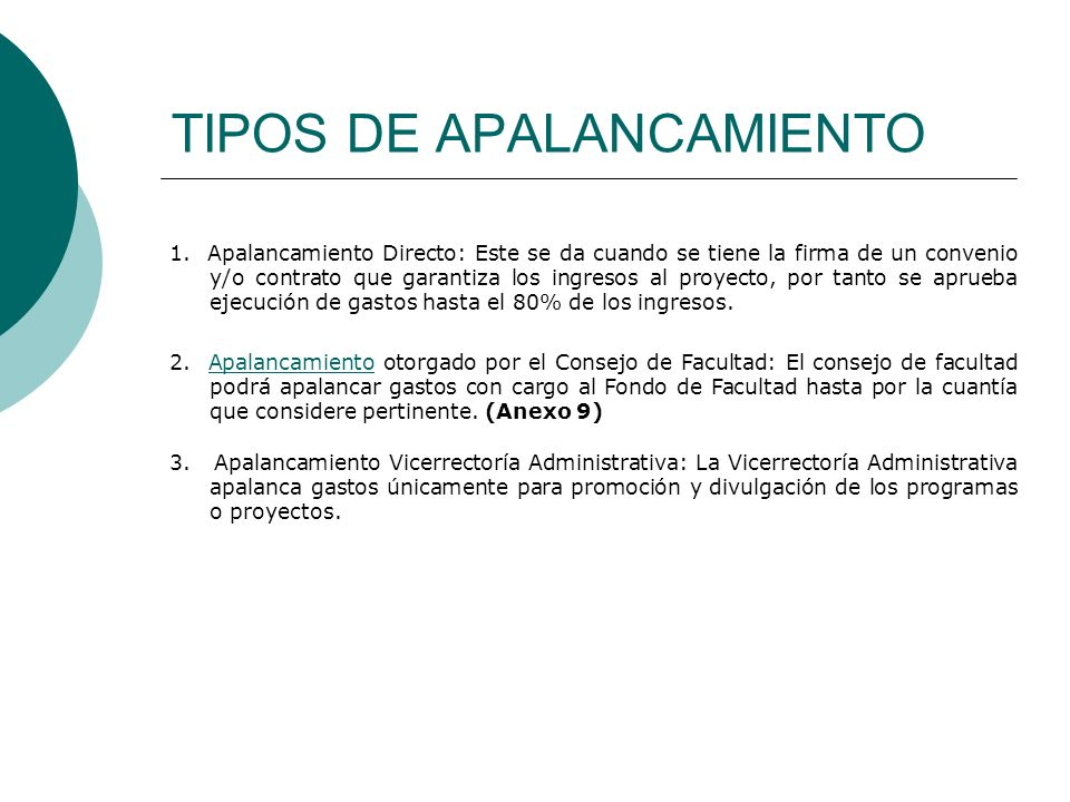 TIPOS DE APALANCAMIENTO 1.