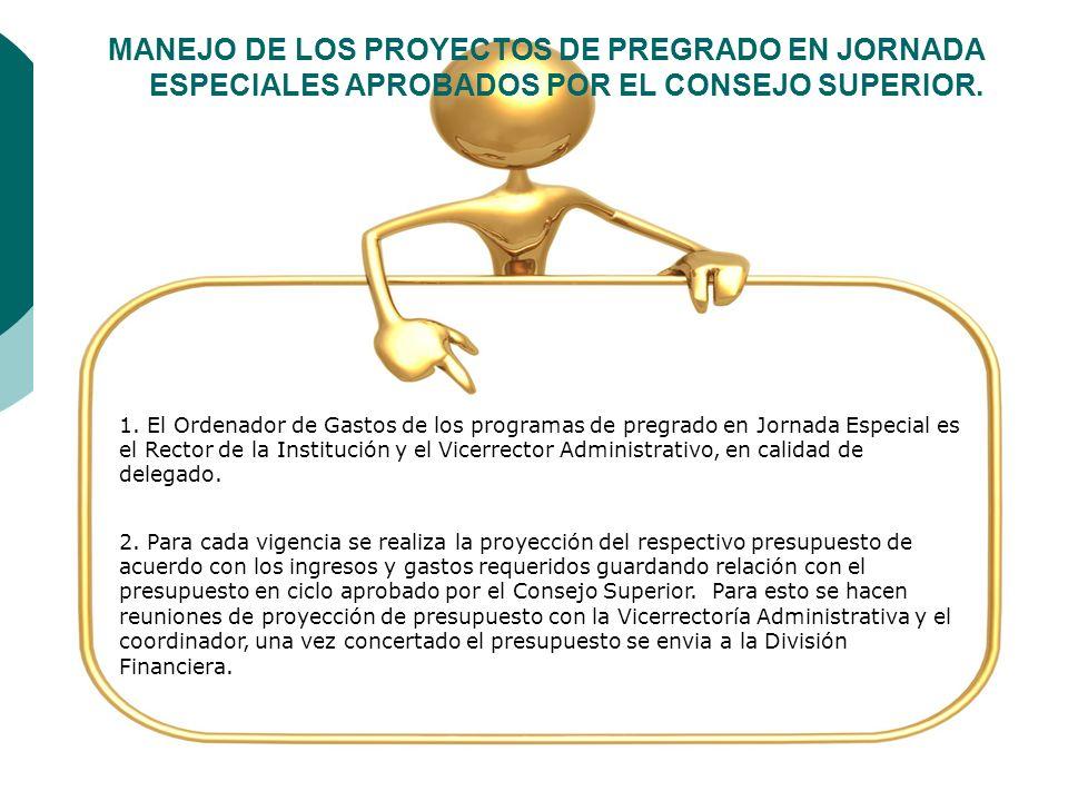 MANEJO DE LOS PROYECTOS DE PREGRADO EN JORNADA ESPECIALES APROBADOS POR EL CONSEJO SUPERIOR.