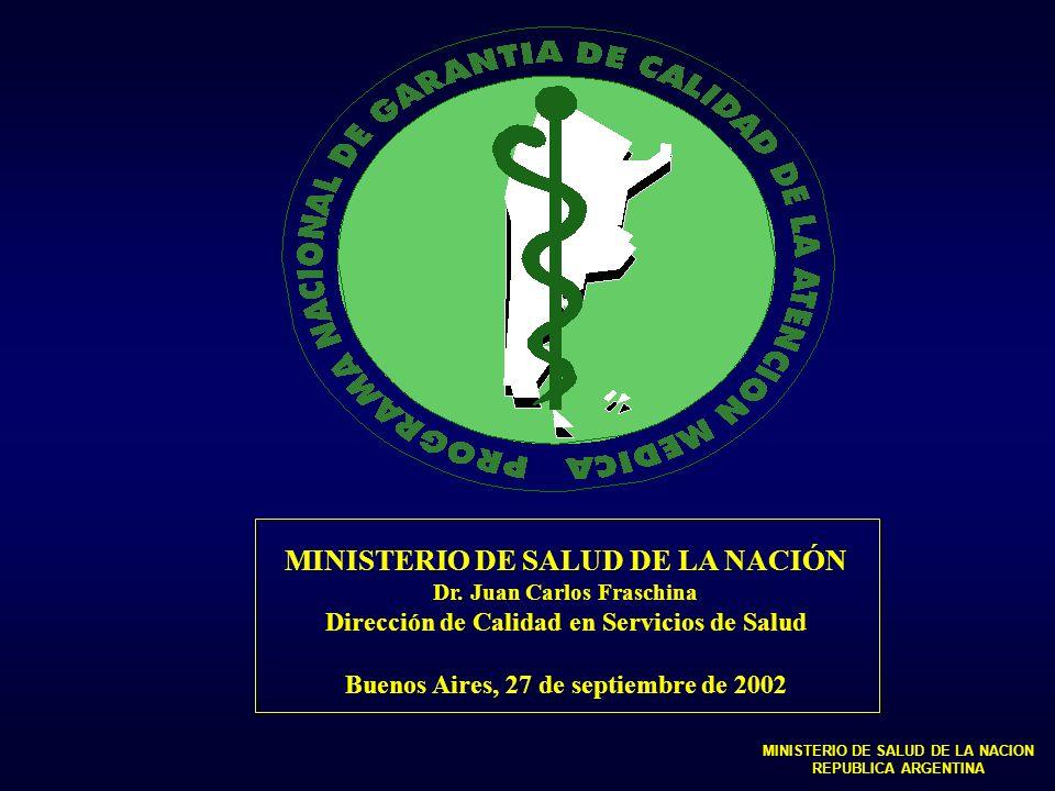 Página web www.msal.gov.ar Programas Programas Nacionales - PNGCAM e-mail: pngcam@msal.gov.ar MINISTERIO DE SALUD DE LA NACION REPUBLICA ARGENTINA AGOSTO 2002