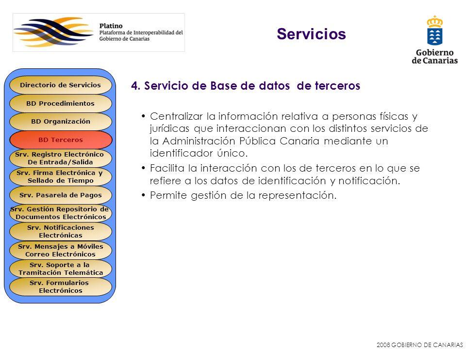 2008 GOBIERNO DE CANARIAS 4. Servicio de Base de datos de terceros Centralizar la información relativa a personas físicas y jurídicas que interacciona