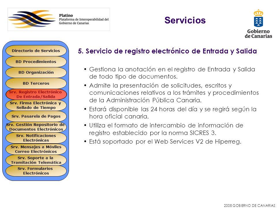2008 GOBIERNO DE CANARIAS 5. Servicio de registro electrónico de Entrada y Salida Gestiona la anotación en el registro de Entrada y Salida de todo tip
