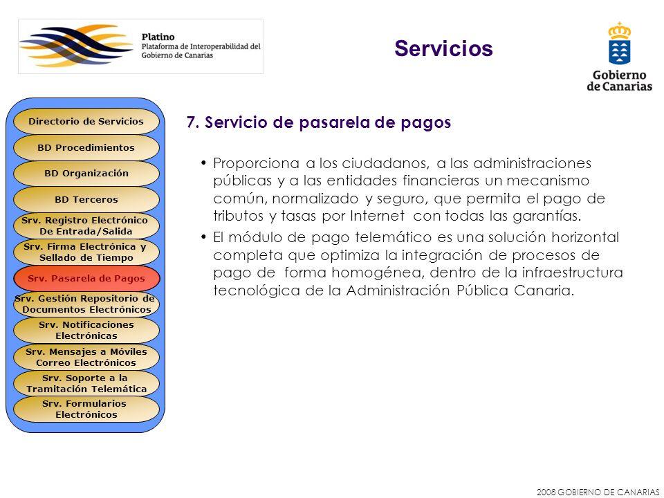 2008 GOBIERNO DE CANARIAS 7. Servicio de pasarela de pagos Proporciona a los ciudadanos, a las administraciones públicas y a las entidades financieras