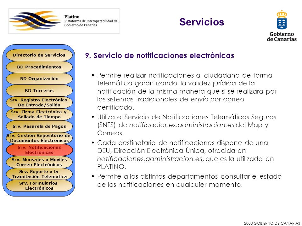 2008 GOBIERNO DE CANARIAS 9. Servicio de notificaciones electrónicas Permite realizar notificaciones al ciudadano de forma telemática garantizando la