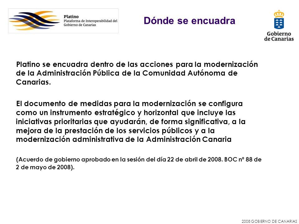 2008 GOBIERNO DE CANARIAS Dónde se encuadra Platino se encuadra dentro de las acciones para la modernización de la Administración Pública de la Comuni