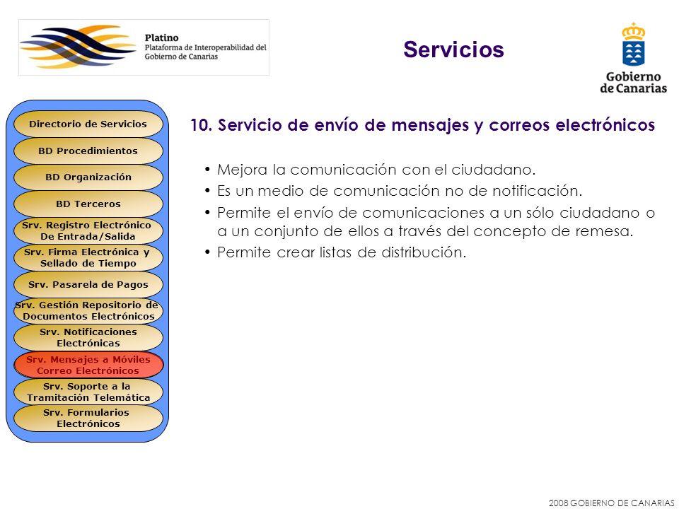 2008 GOBIERNO DE CANARIAS 10. Servicio de envío de mensajes y correos electrónicos Mejora la comunicación con el ciudadano. Es un medio de comunicació