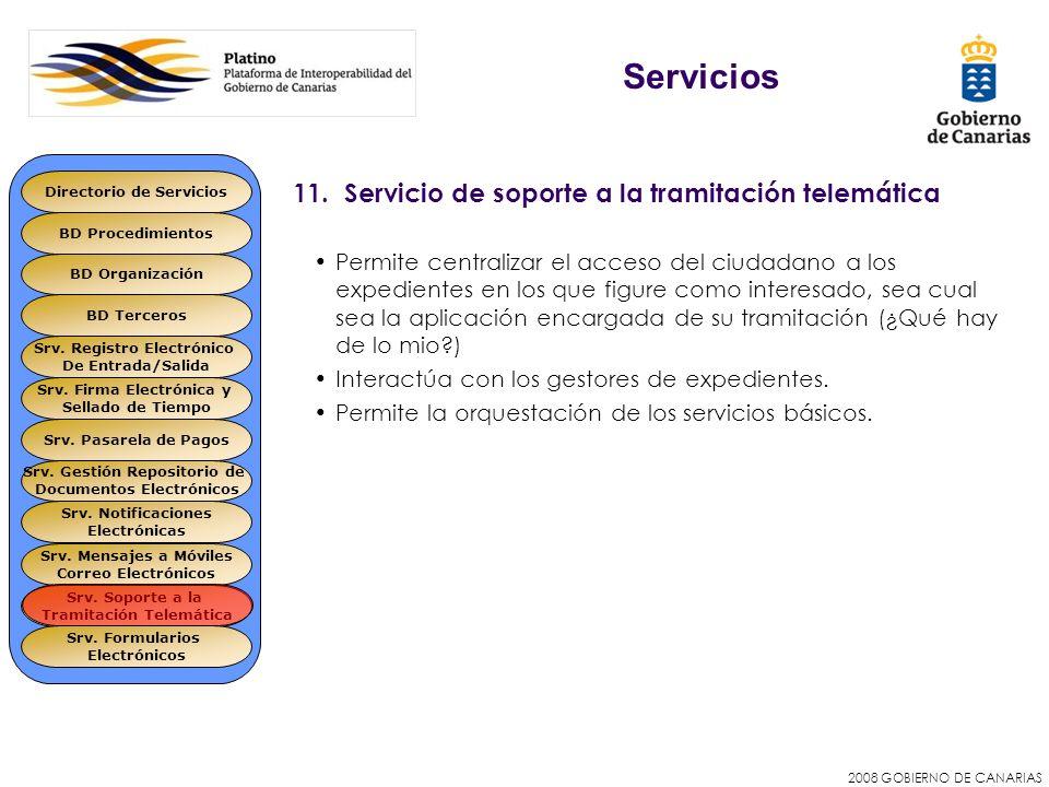 2008 GOBIERNO DE CANARIAS 11. Servicio de soporte a la tramitación telemática Permite centralizar el acceso del ciudadano a los expedientes en los que
