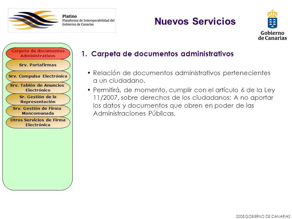 2008 GOBIERNO DE CANARIAS 1. Carpeta de documentos administrativos Relación de documentos administrativos pertenecientes a un ciudadano. Permitirá, de