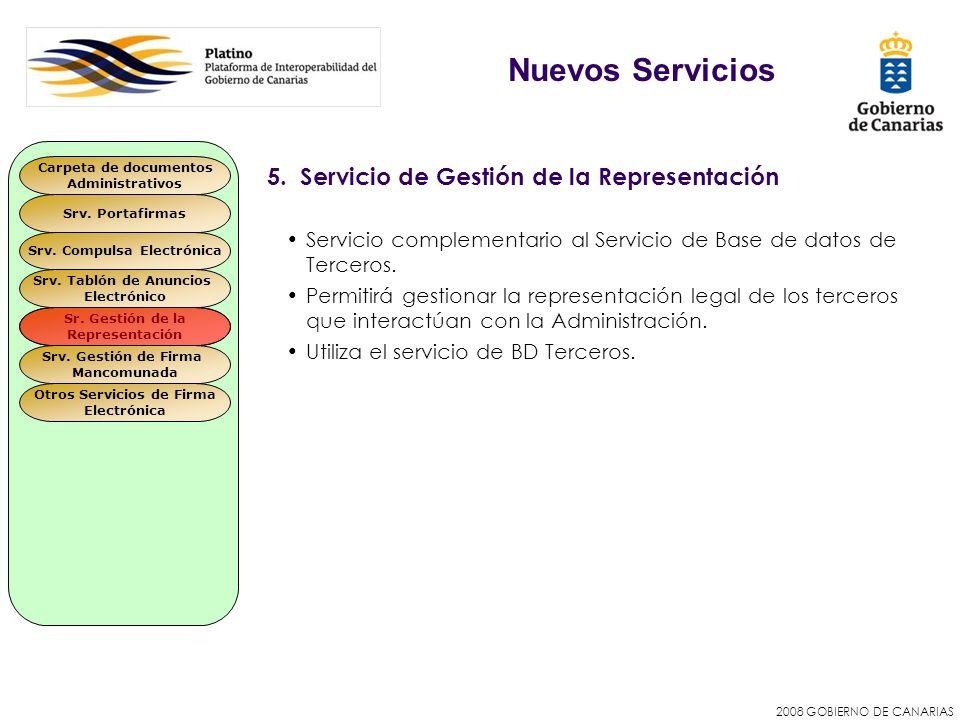 2008 GOBIERNO DE CANARIAS 5. Servicio de Gestión de la Representación Servicio complementario al Servicio de Base de datos de Terceros. Permitirá gest